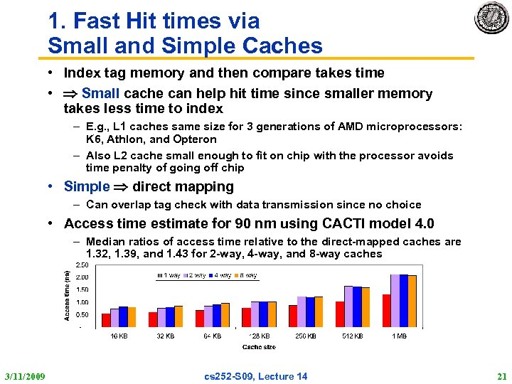 1. Fast Hit times via Small and Simple Caches • Index tag memory and
