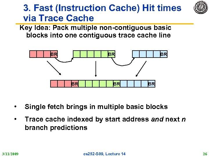 3. Fast (Instruction Cache) Hit times via Trace Cache Key Idea: Pack multiple non-contiguous