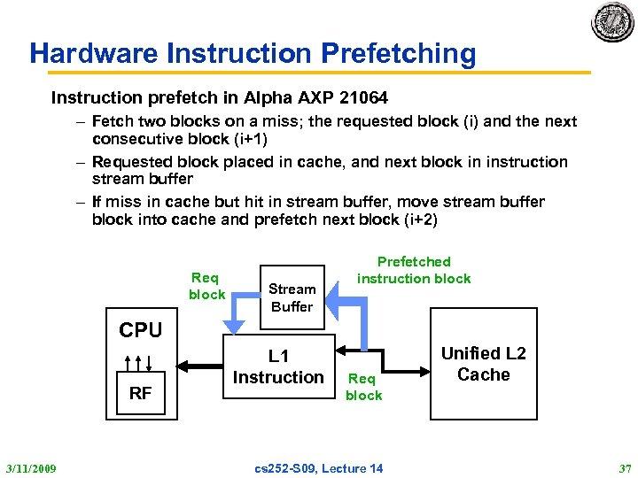 Hardware Instruction Prefetching Instruction prefetch in Alpha AXP 21064 – Fetch two blocks on