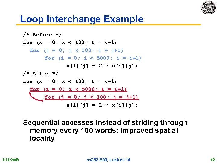 Loop Interchange Example /* Before */ for (k = 0; k < 100; k