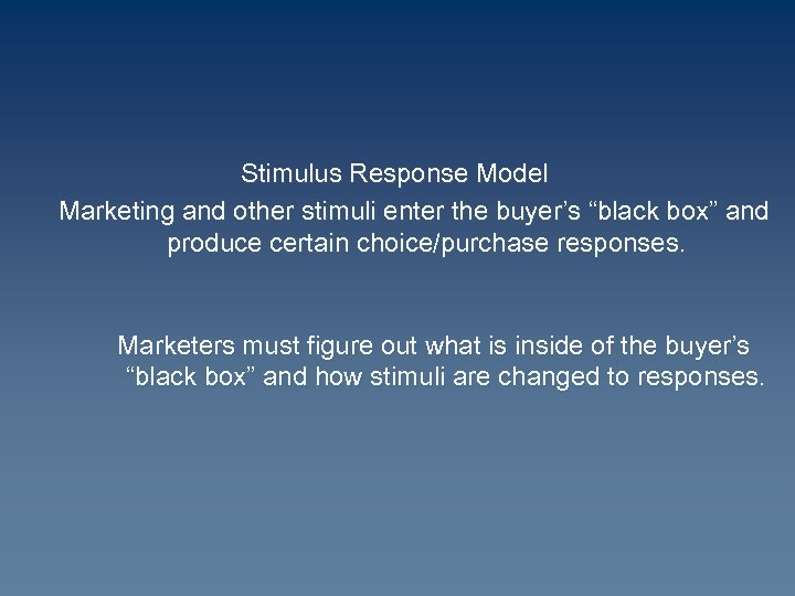 "Stimulus Response Model Marketing and other stimuli enter the buyer's ""black box"" and produce"