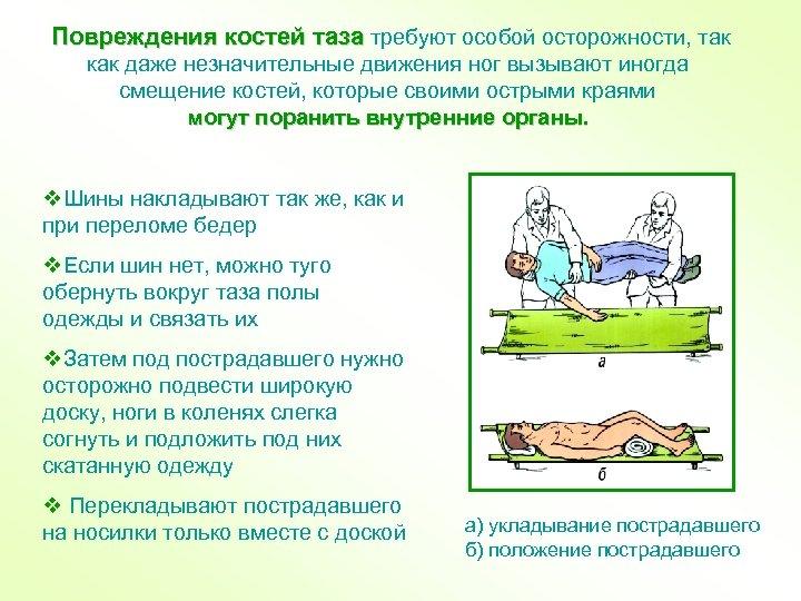 Повреждения костей таза требуют особой осторожности, так как даже незначительные движения ног вызывают