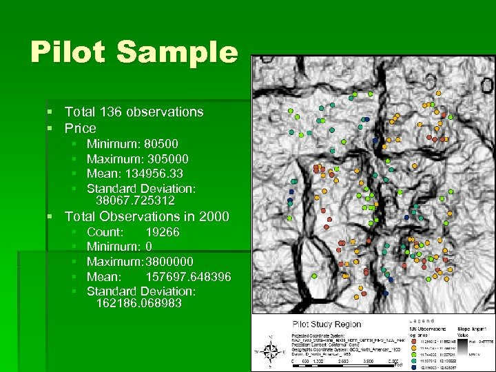 Pilot Sample § Total 136 observations § Price § § Minimum: 80500 Maximum: 305000