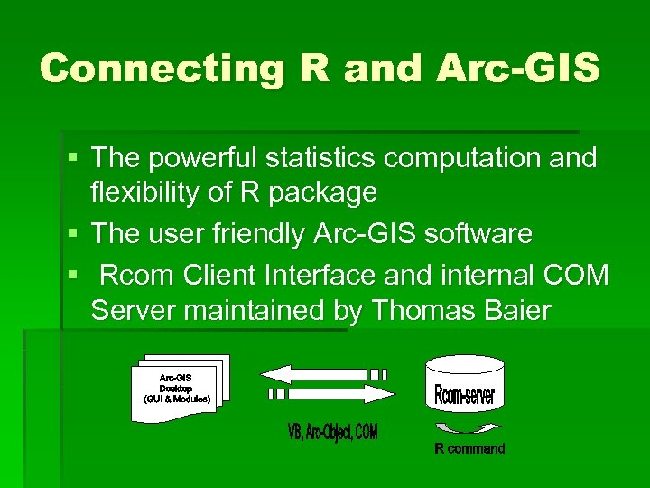 Connecting R and Arc-GIS § The powerful statistics computation and flexibility of R package