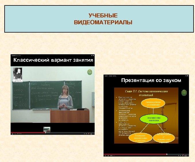 УЧЕБНЫЕ ВИДЕОМАТЕРИАЛЫ Классический вариант занятия Презентация со звуком