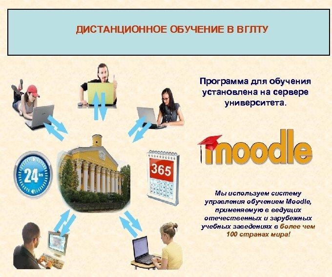 ДИСТАНЦИОННОЕ ОБУЧЕНИЕ В ВГЛТУ Программа для обучения установлена на сервере университета. Мы используем систему