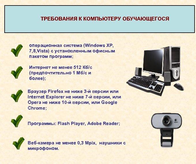 ТРЕБОВАНИЯ К КОМПЬЮТЕРУ ОБУЧАЮЩЕГОСЯ ТРЕБОВАНИЯ К КОМПЬЮТЕРУ операционная система (Windows XP, 7, 8, Vista)