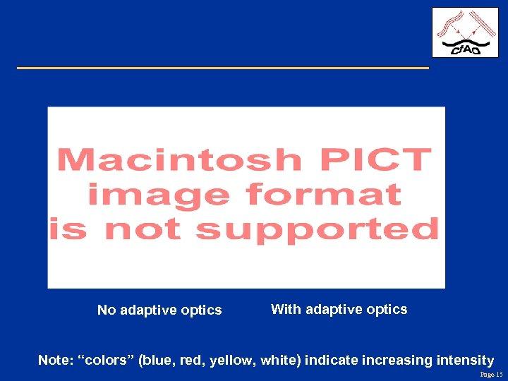 "No adaptive optics With adaptive optics Note: ""colors"" (blue, red, yellow, white) indicate increasing"