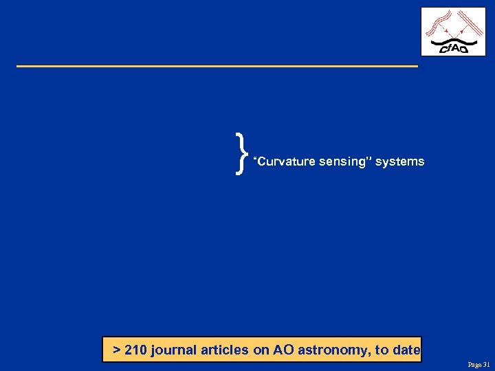 """} """"Curvature sensing"""" systems > 210 journal articles on AO astronomy, to date Page"""