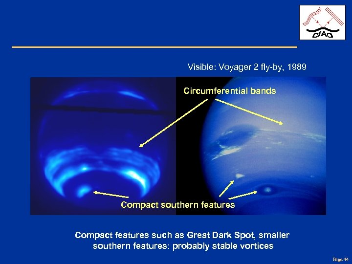 Visible: Voyager 2 fly-by, 1989 Circumferential bands Compact southern features Compact features such as
