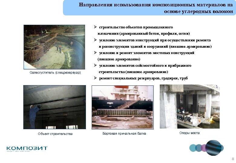 Направления использования композиционных материалов на основе углеродных волокон Ø строительство объектов промышленного назначения (армированный