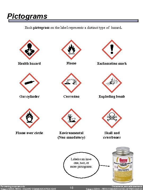 Pictograms Each pictogram on the label represents a distinct type of hazard. Health hazard