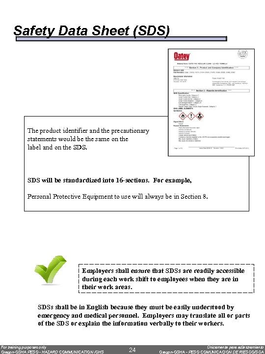 Safety Data Sheet (SDS) The product identifier and the precautionary statements would be the