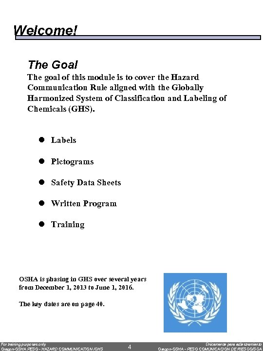 Welcome! The Goal The goal of this module is to cover the Hazard Communication