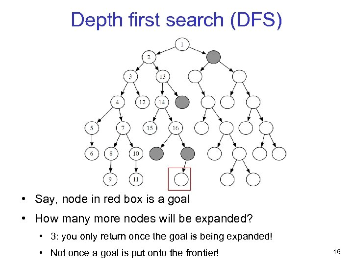 Depth first search (DFS) • Say, node in red box is a goal •