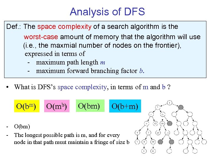 Analysis of DFS Def. : The space complexity of a search algorithm is the