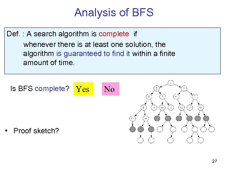 Analysis of BFS Def. : A search algorithm is complete if whenever there is