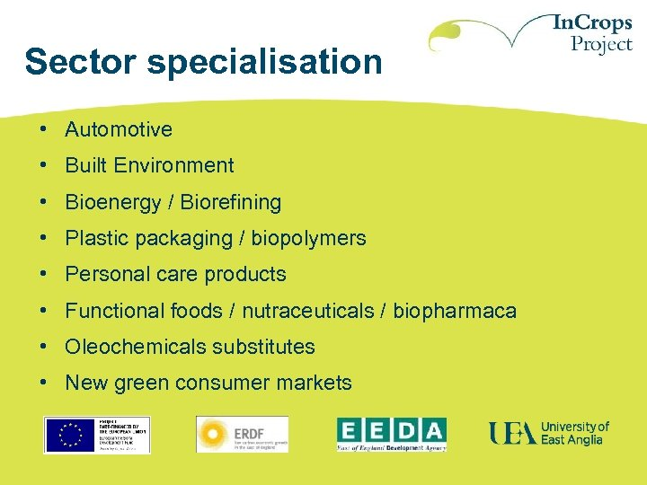 Sector specialisation • Automotive • Built Environment • Bioenergy / Biorefining • Plastic packaging