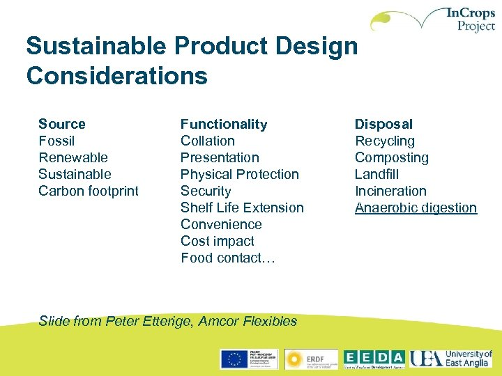 Sustainable Product Design Considerations Source Fossil Renewable Sustainable Carbon footprint Functionality Collation Presentation Physical