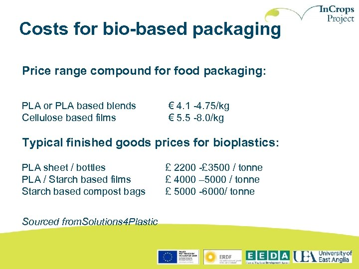 Costs for bio-based packaging Price range compound for food packaging: PLA or PLA based