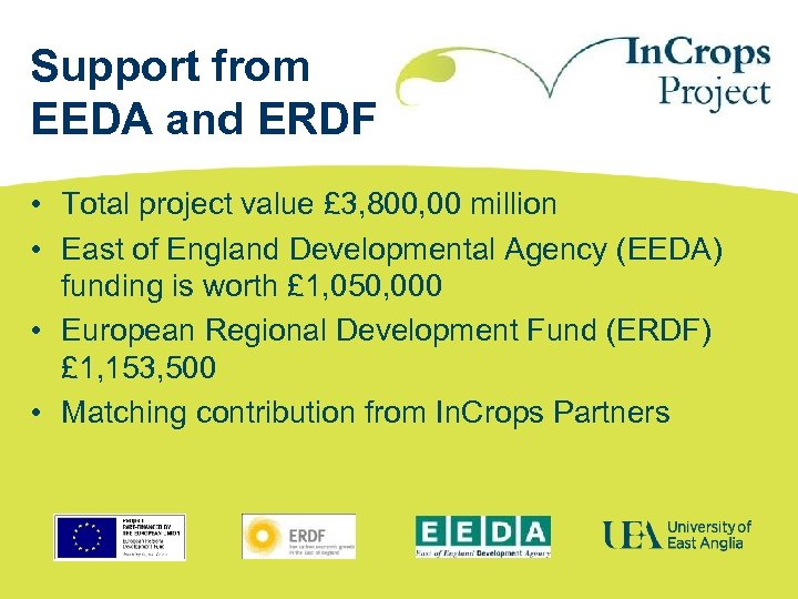 Support from EEDA and ERDF • Total project value £ 3, 800, 00 million