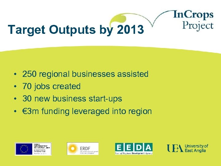 Target Outputs by 2013 • • 250 regional businesses assisted 70 jobs created 30