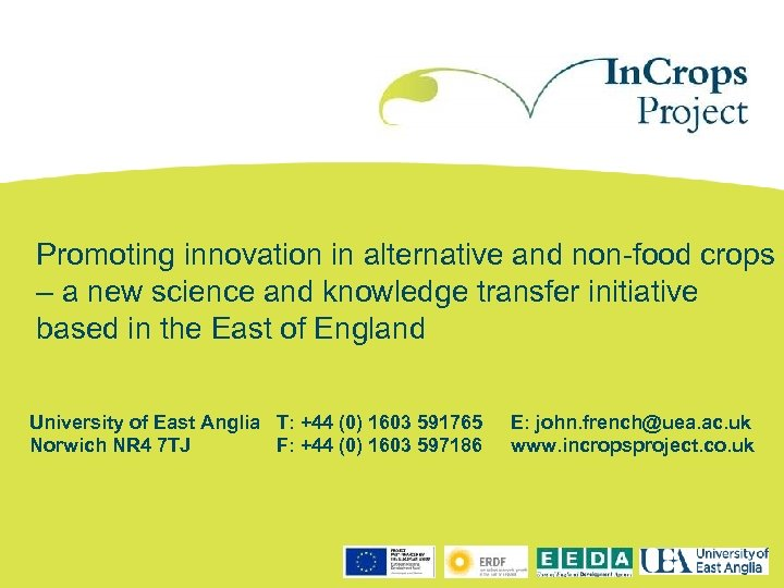 Promoting innovation in alternative and non-food crops – a new science and knowledge transfer