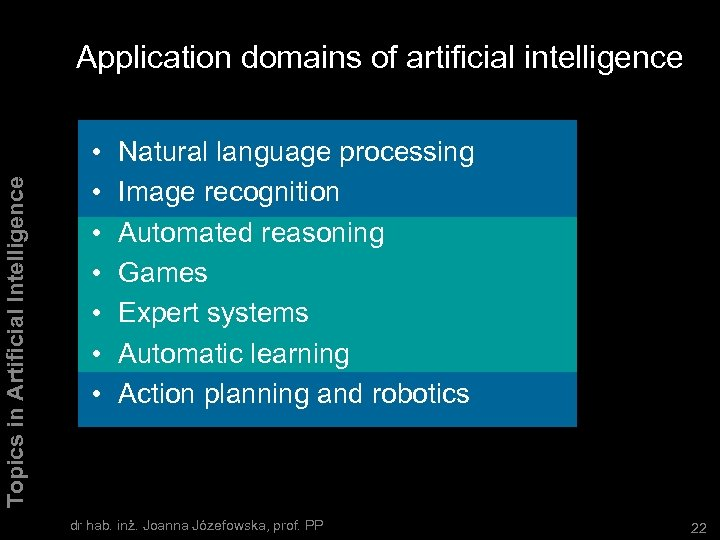 Topics in Artificial Intelligence Application domains of artificial intelligence • • Natural language processing