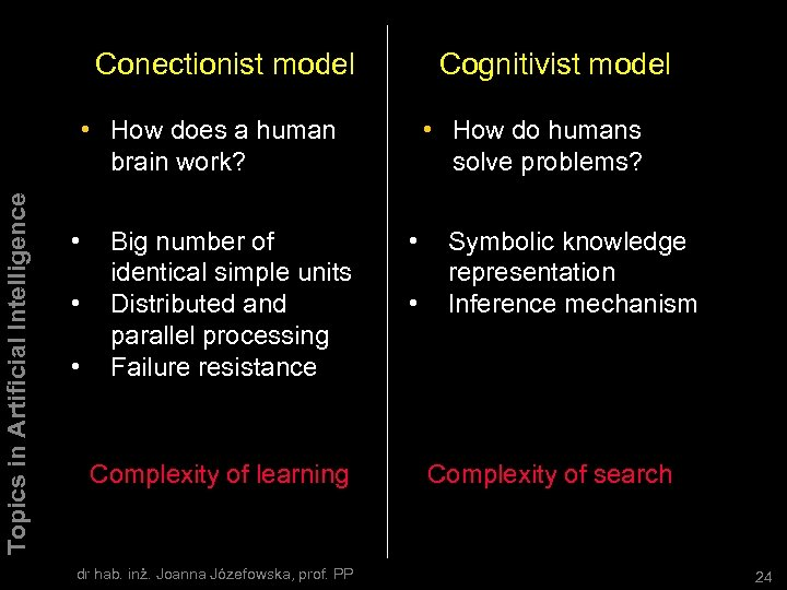 Conectionist model Cognitivist model Topics in Artificial Intelligence • How does a human brain