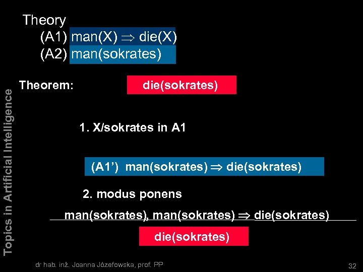 Topics in Artificial Intelligence Theory (A 1) man(X) die(X) (A 2) man(sokrates) Theorem: Dowód: