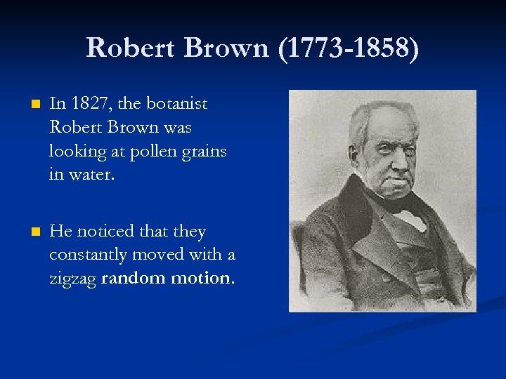 Robert Brown (1773 -1858) n In 1827, the botanist Robert Brown was looking at