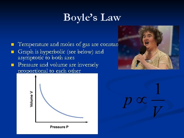 Boyle's Law n n n Temperature and moles of gas are constant Graph is
