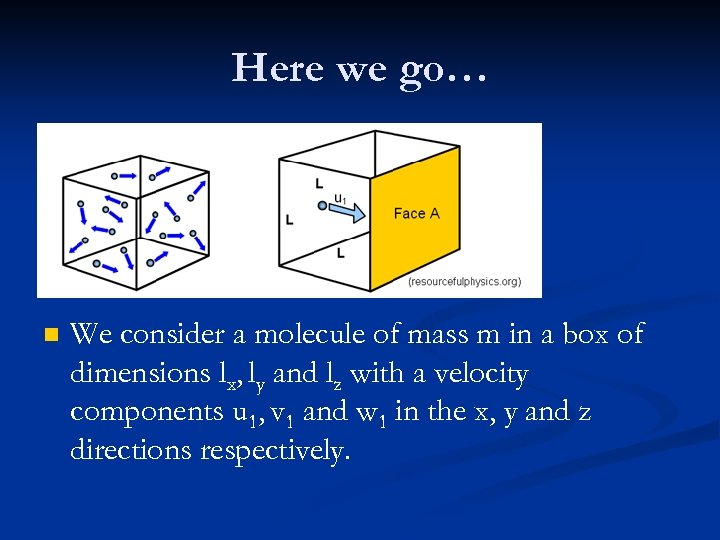 Here we go… n We consider a molecule of mass m in a