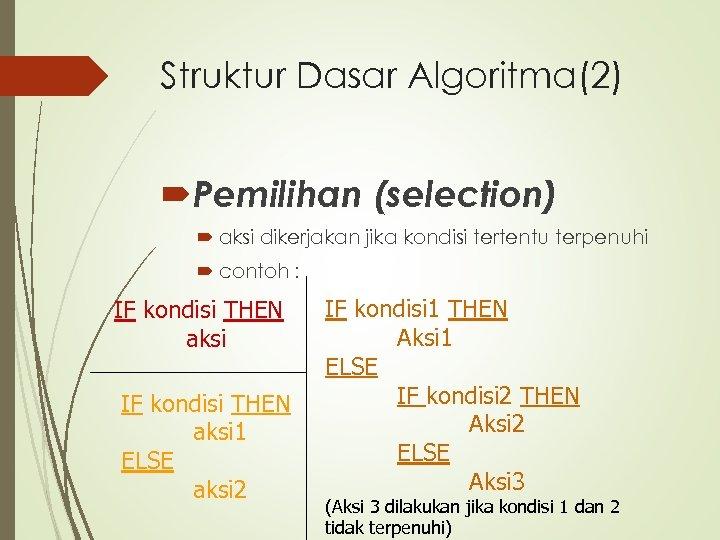 Struktur Dasar Algoritma(2) Pemilihan (selection) aksi dikerjakan jika kondisi tertentu terpenuhi contoh : IF