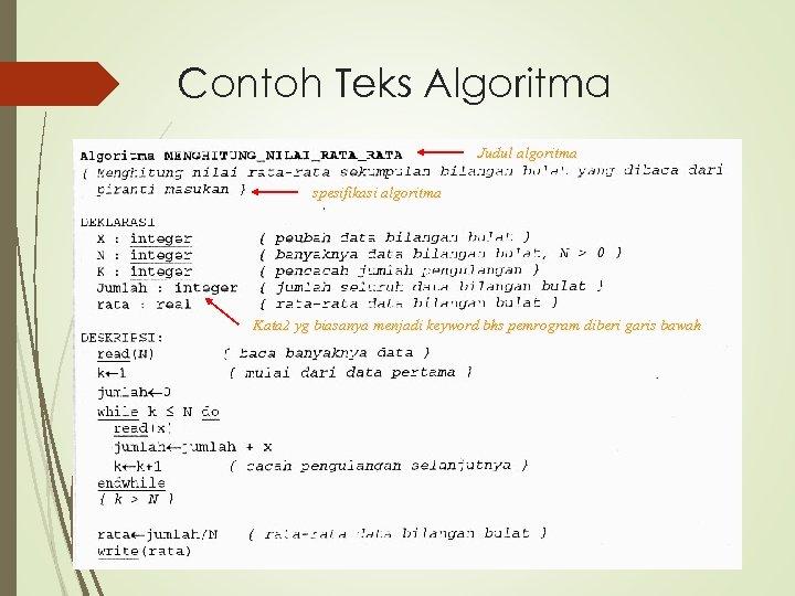 Contoh Teks Algoritma Judul algoritma spesifikasi algoritma Kata 2 yg biasanya menjadi keyword bhs