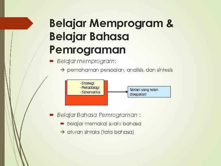 Belajar Memprogram & Belajar Bahasa Pemrograman Belajar memprogram: pemahaman persoalan, analisis, dan sintesis -Strategi
