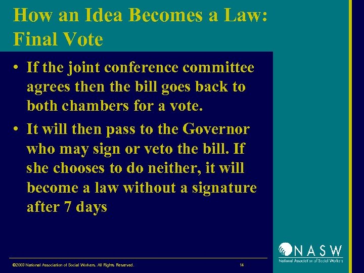 How an Idea Becomes a Law: Final Vote • If the joint conference committee