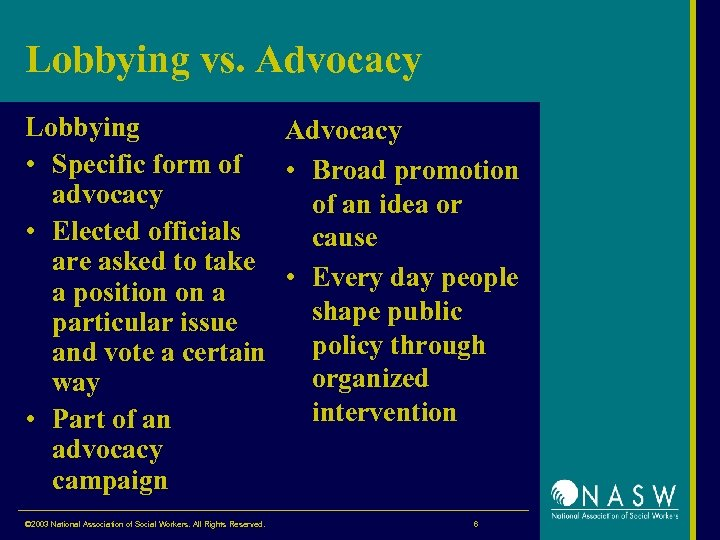 Lobbying vs. Advocacy Lobbying Advocacy • Specific form of • Broad promotion advocacy of