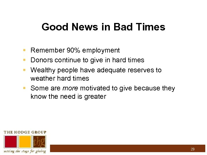 Good News in Bad Times § Remember 90% employment § Donors continue to give