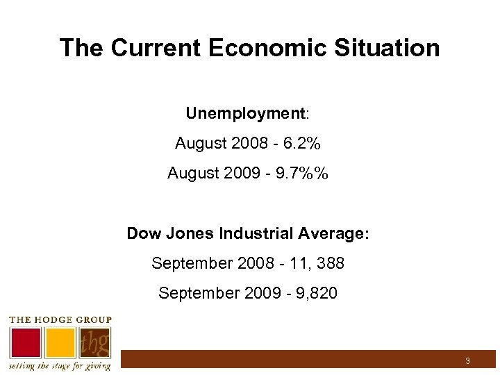 The Current Economic Situation Unemployment: August 2008 - 6. 2% August 2009 - 9.