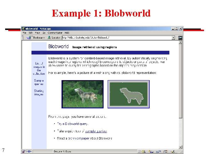 Example 1: Blobworld 7