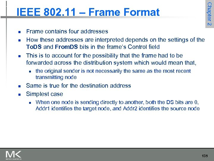 Chapter 2 IEEE 802. 11 – Frame Format n n n Frame contains four