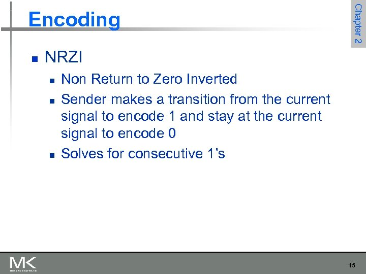 n Chapter 2 Encoding NRZI n n n Non Return to Zero Inverted Sender