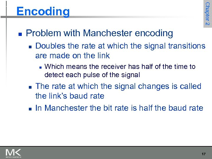 Chapter 2 Encoding n Problem with Manchester encoding n Doubles the rate at which