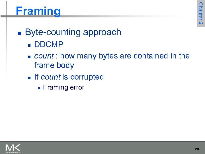 n Chapter 2 Framing Byte-counting approach n n n DDCMP count : how many
