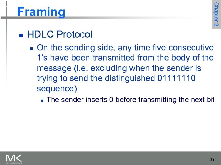 n Chapter 2 Framing HDLC Protocol n On the sending side, any time five