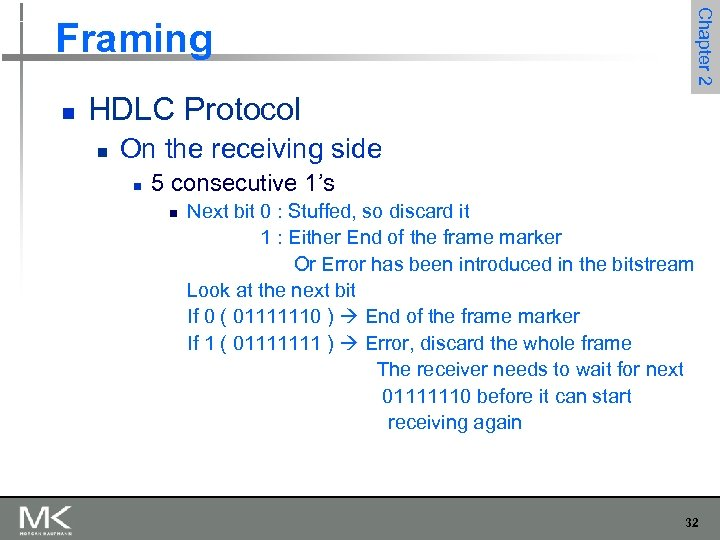 Chapter 2 Framing n HDLC Protocol n On the receiving side n 5 consecutive