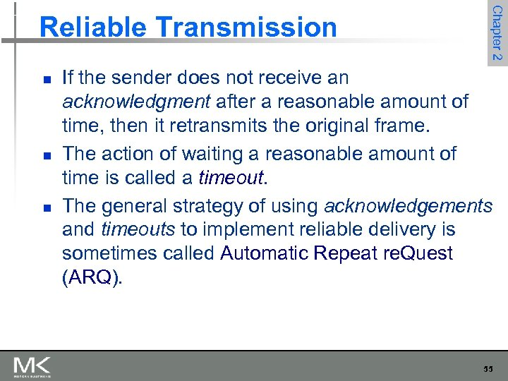 n n n Chapter 2 Reliable Transmission If the sender does not receive an
