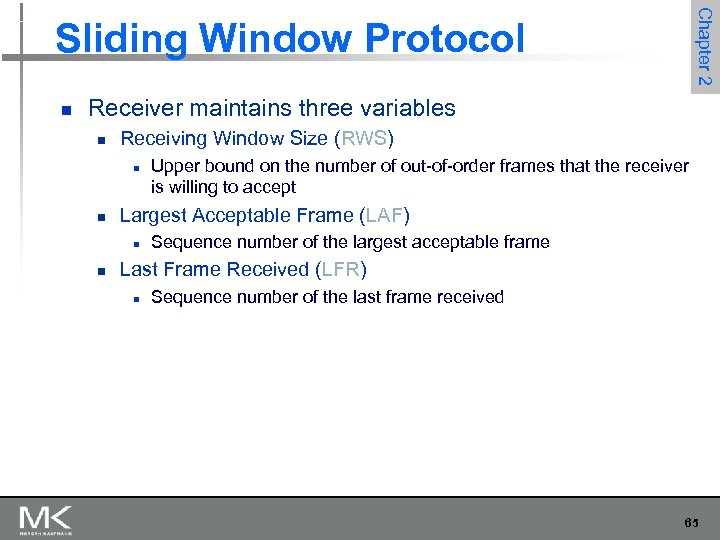 Chapter 2 Sliding Window Protocol n Receiver maintains three variables n Receiving Window Size