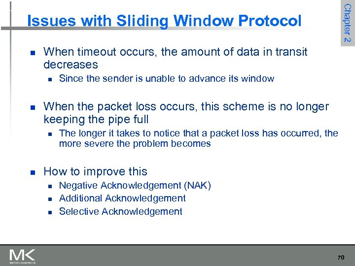 Chapter 2 Issues with Sliding Window Protocol n When timeout occurs, the amount of